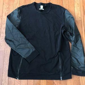 Mens Calvin Klein SlimFit Crew Neck leather sleeve